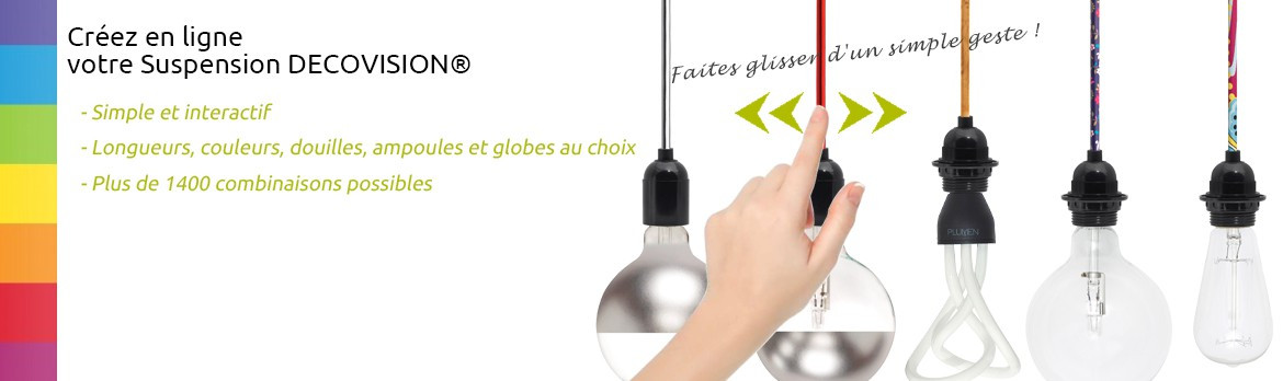 Luminaire design ampoule apparente fil couleur suspension d covision ex - Eclairage suspendu cable ...