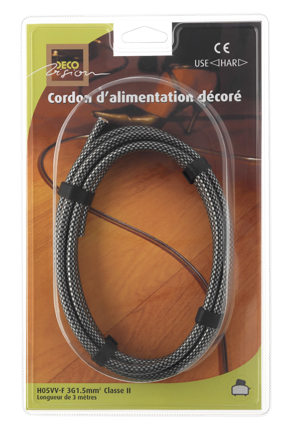 cable electrique d cor carbone 3 m tres cable d cor d covision. Black Bedroom Furniture Sets. Home Design Ideas